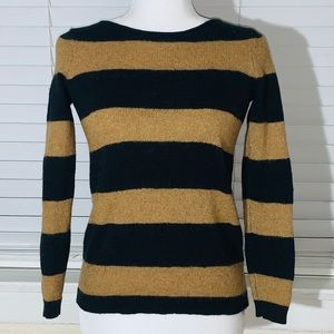 Madewell stripped black and tan wool blend sweater
